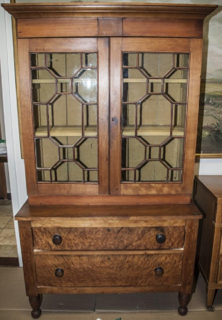 Antique Faux Bamboo Fretwork Hutch / China Cabinet