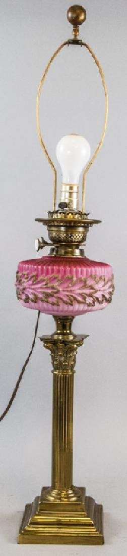 Converted Victorian Glass Oil Lamp on Brass Column
