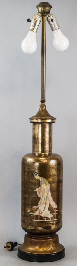 Vintage Porcelain Asian Style Bronze Leaf Lamp