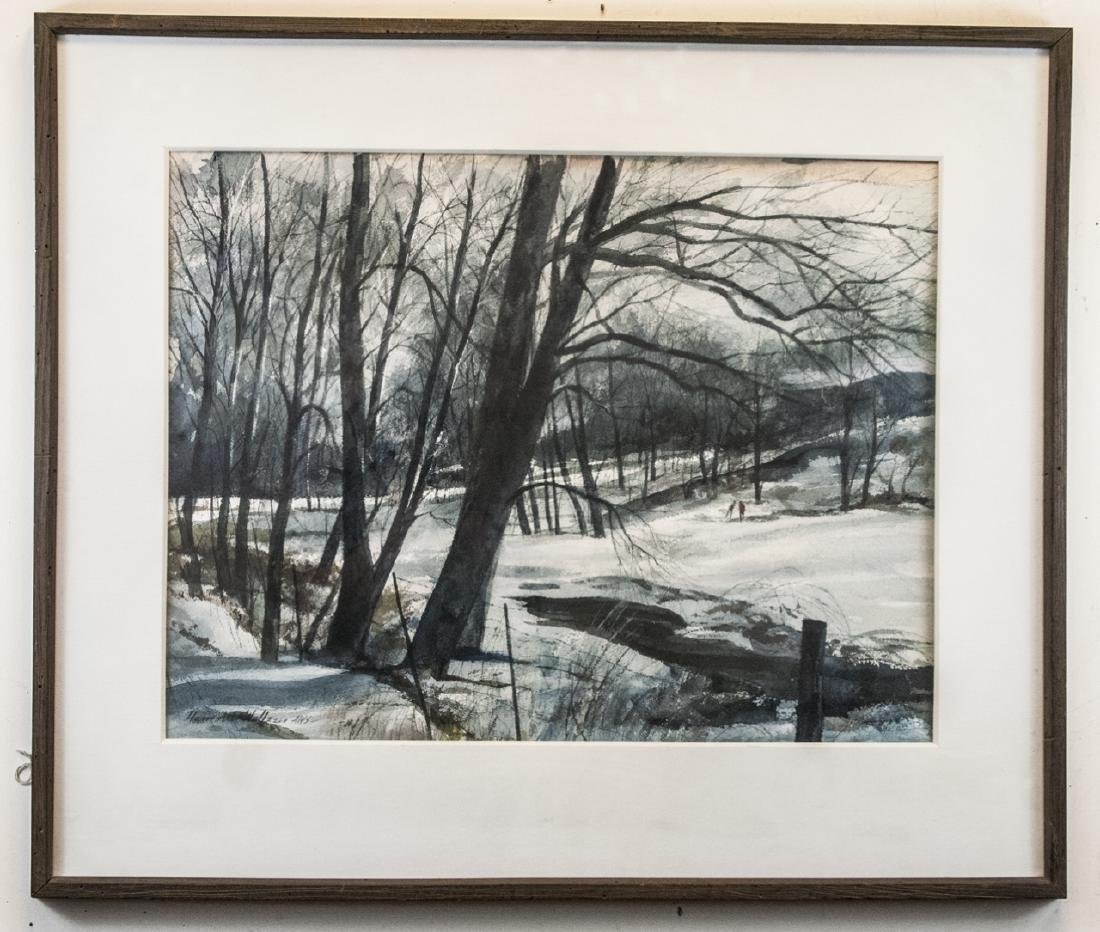 Watercolor Winter Landscape Signed by Artist