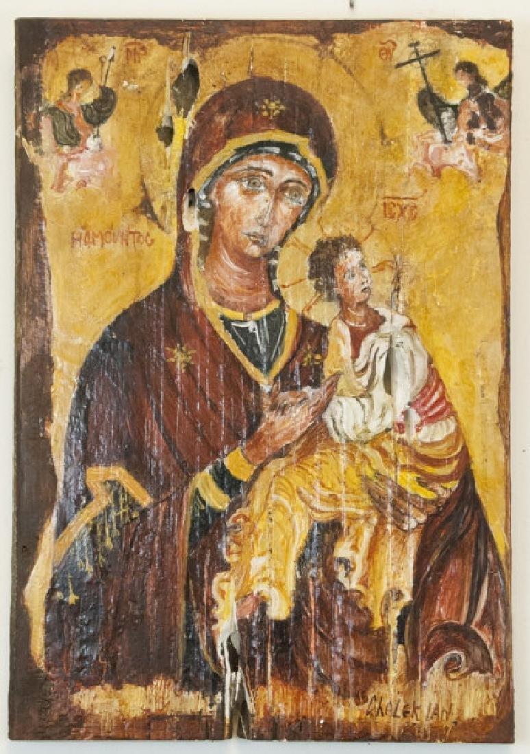 Antique Russian Icon Madonna & Child on Board
