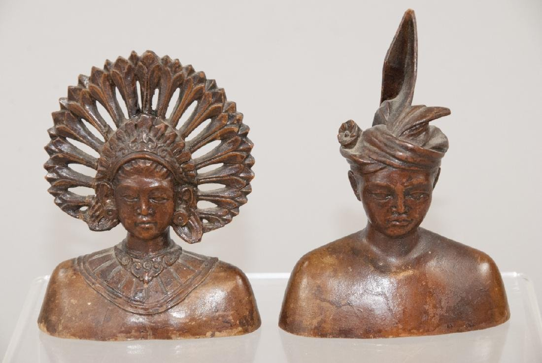 Pair Hand Carved Wood South East Asian Statues