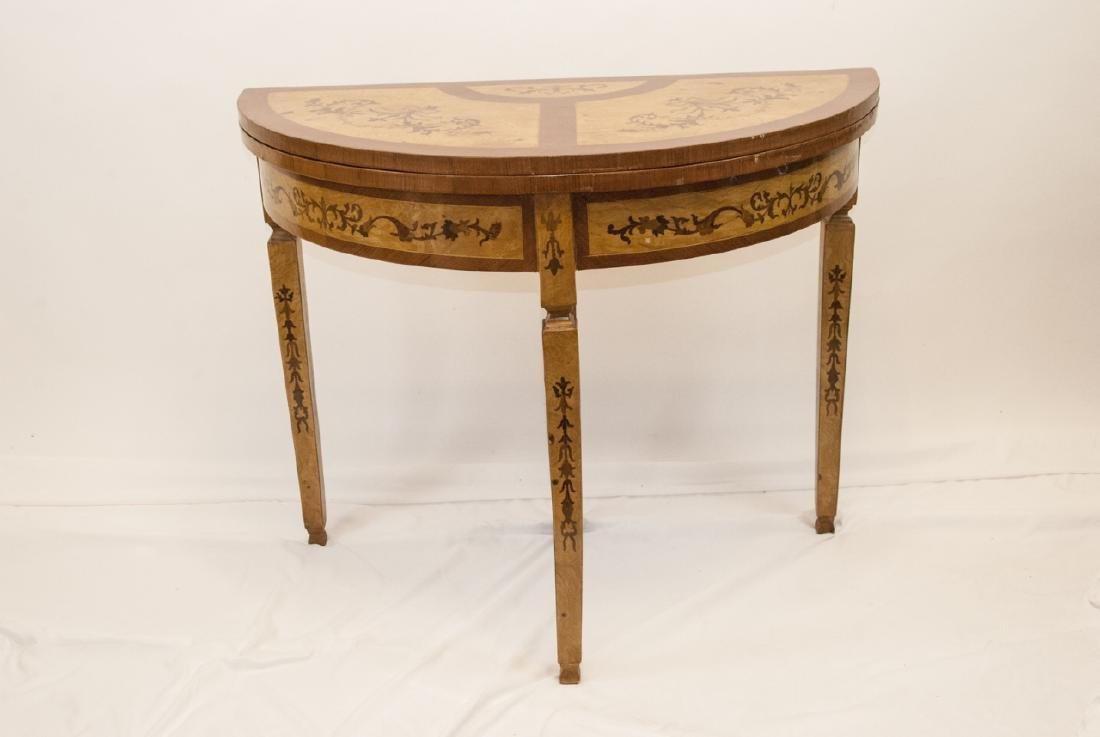 Marquetry Inlaid Demi Lune Flip Top Console Table
