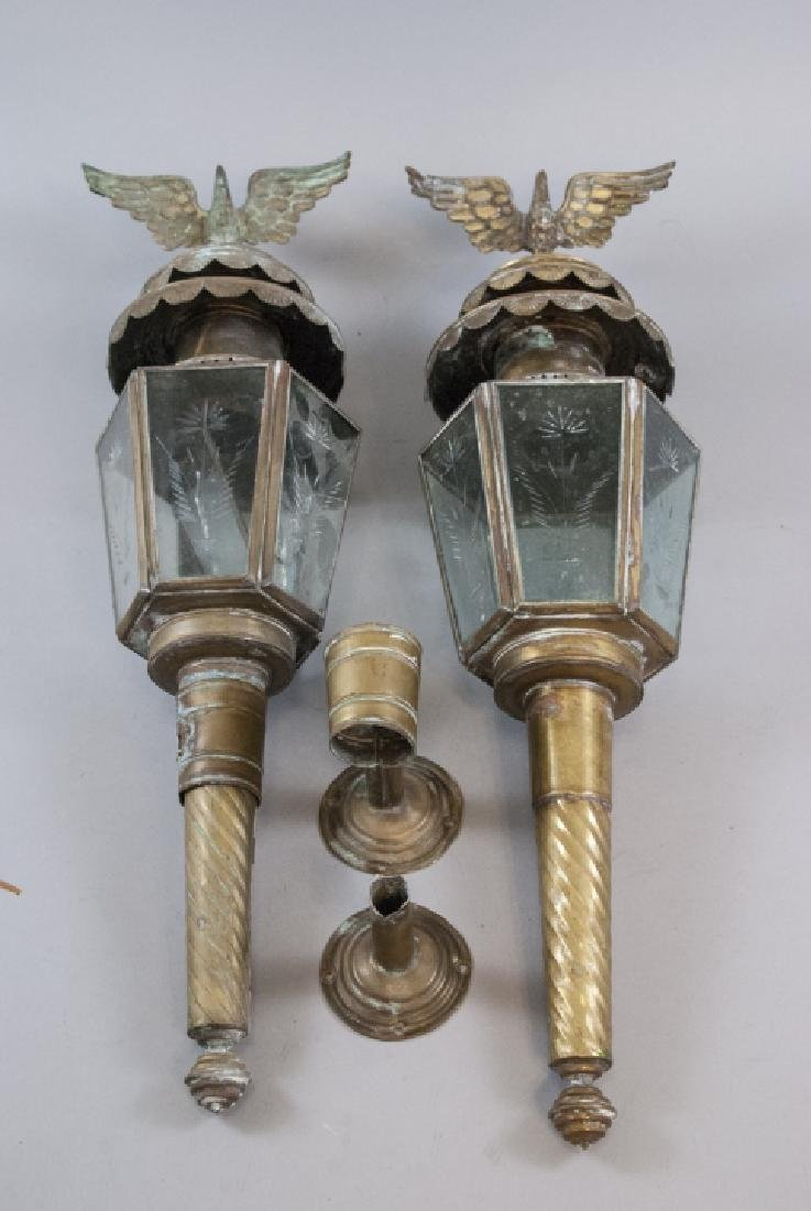 Pair Antique Federal Style Eagle Mount Wall Sconce
