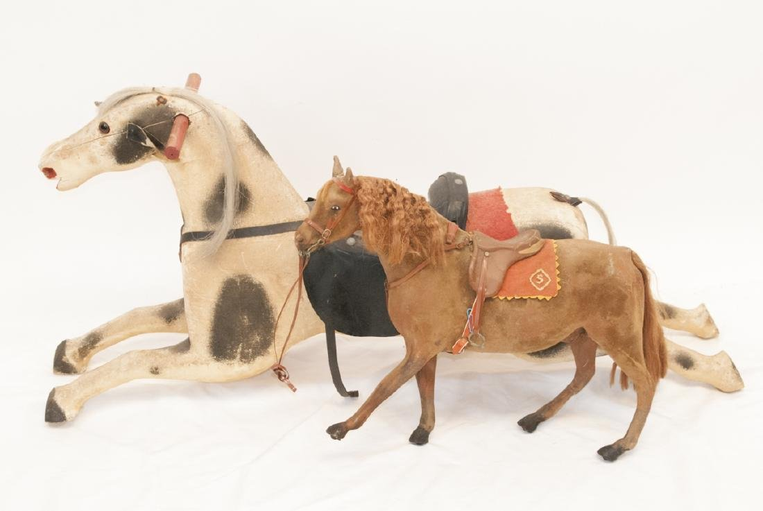 Vintage Carousel and Flocked Schwarz Horses
