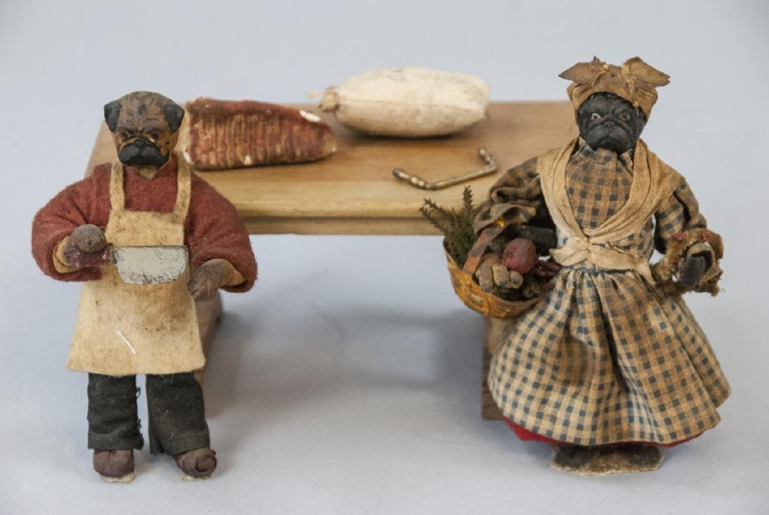 Antique Dollhouse Butcher & Wife w Table & Items