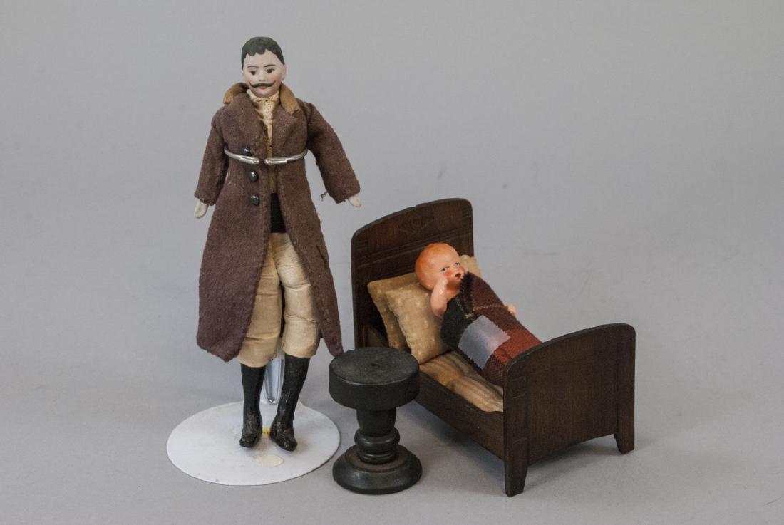 Antique German Dollhouse Dolls & Furniture