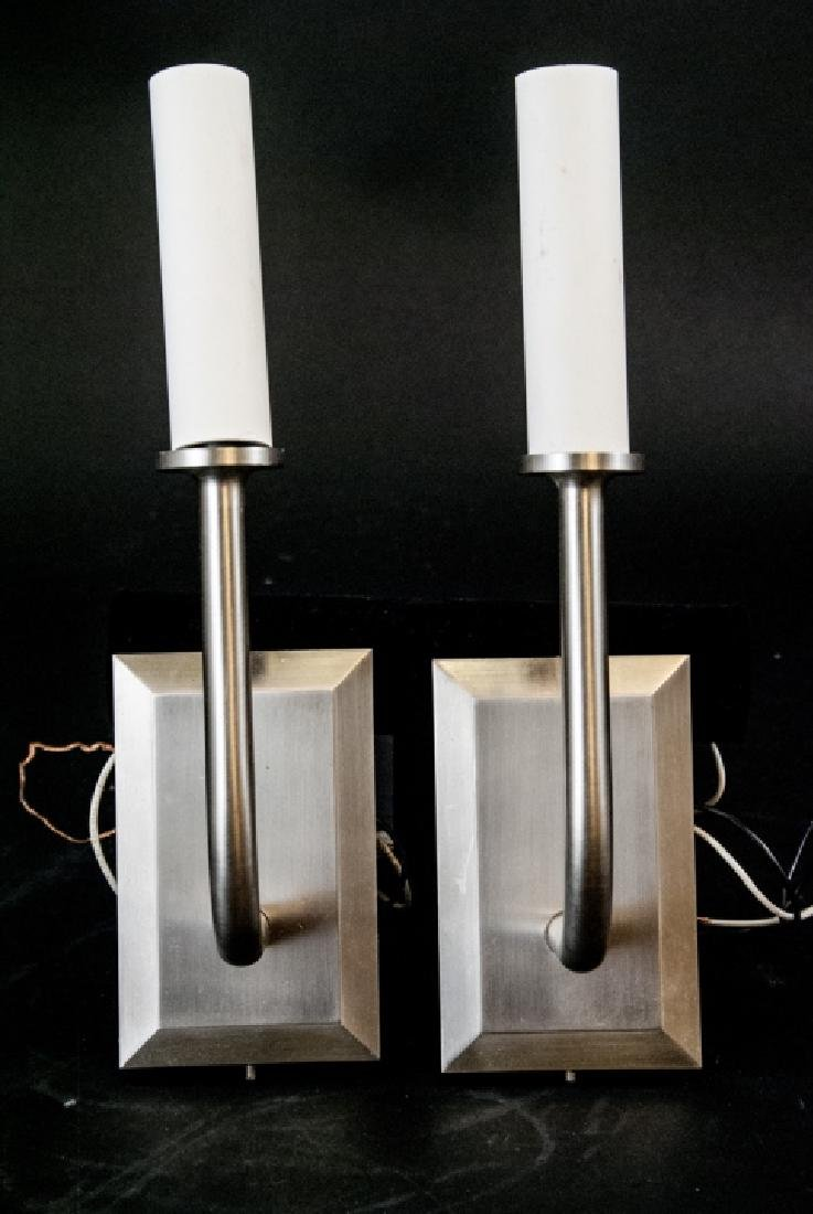 Pair Of Contemporary Brushed Nickel Wall Sconces