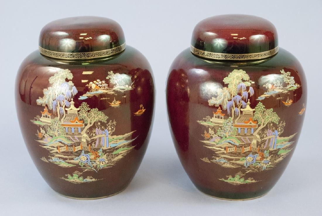 Pair Crown Devon Fieldings Luster Ginger Jars