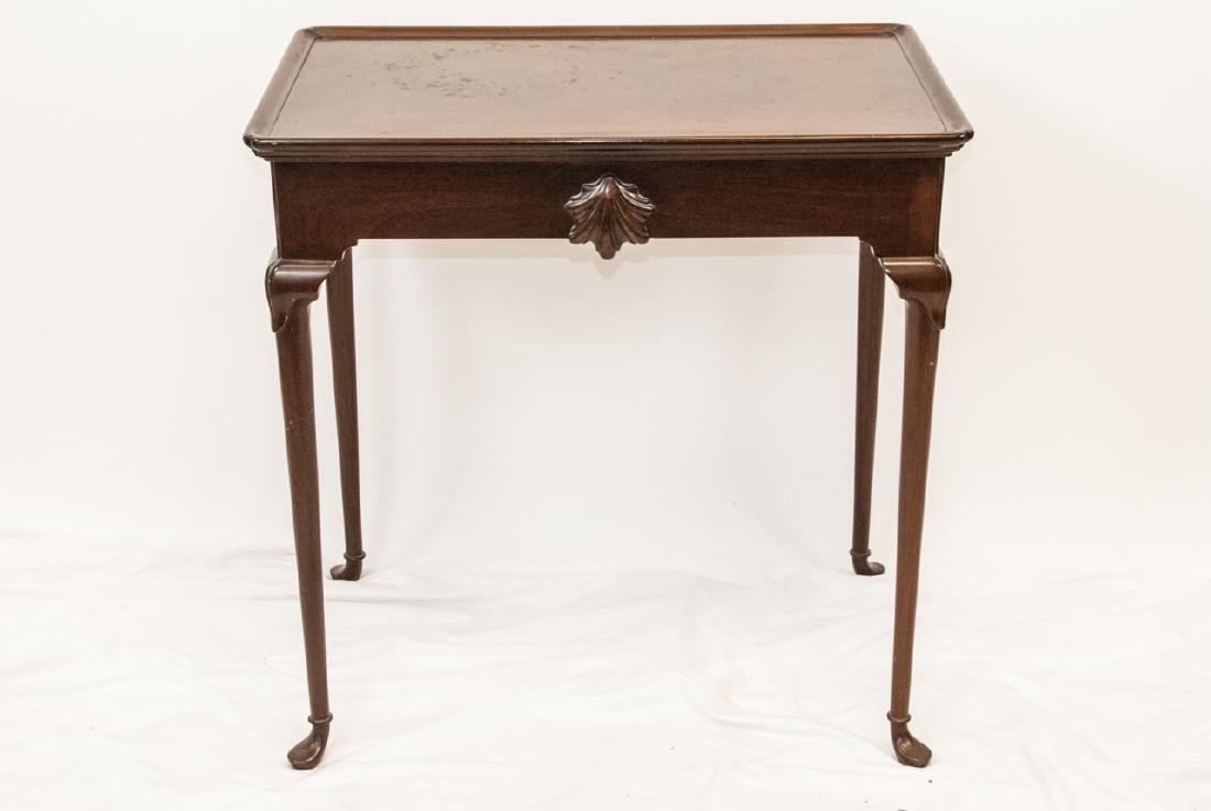 English Queen Anne Style End Table w Pull Out