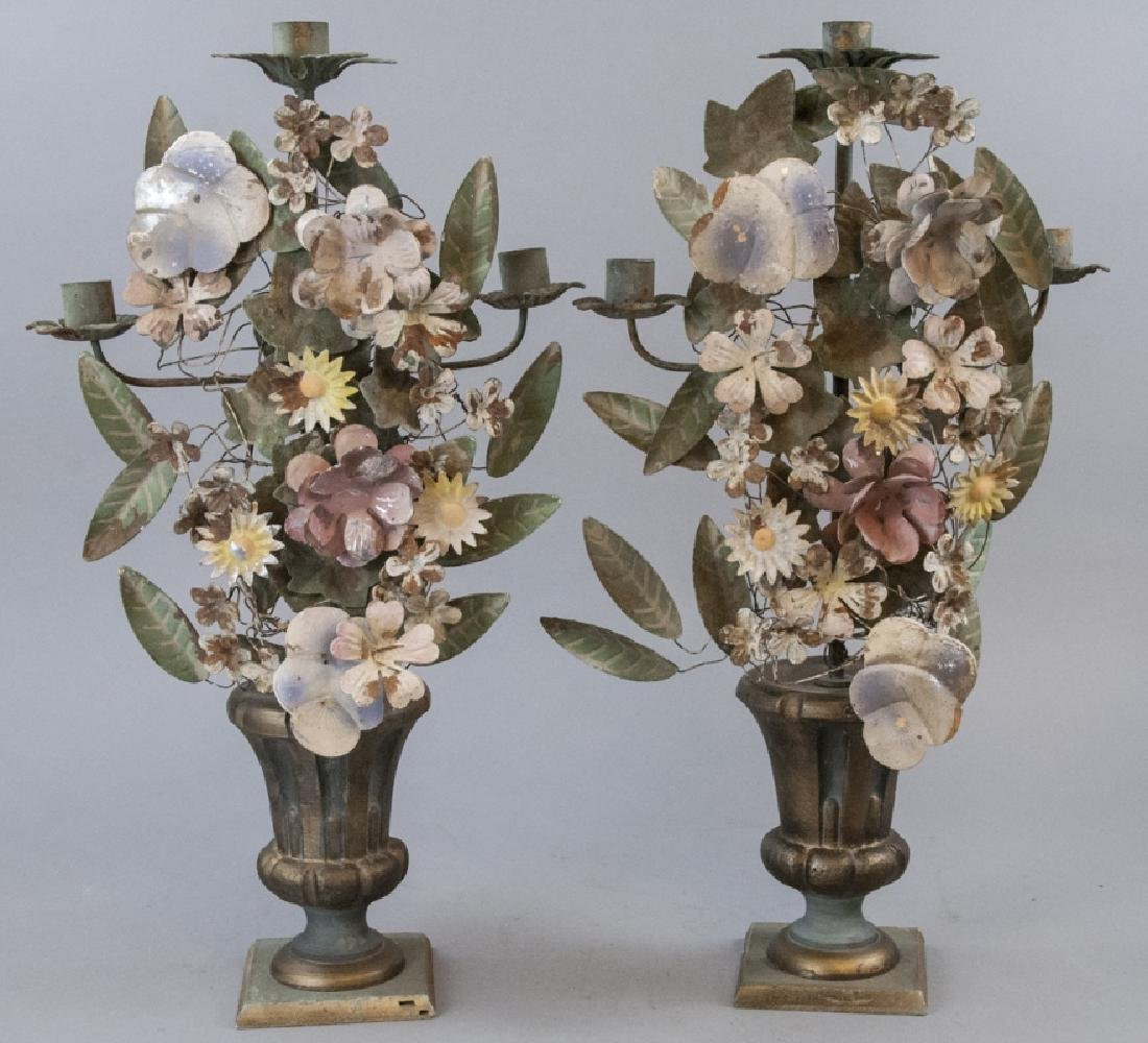 Pair Vintage Hand Painted Tole Metal Candlesticks