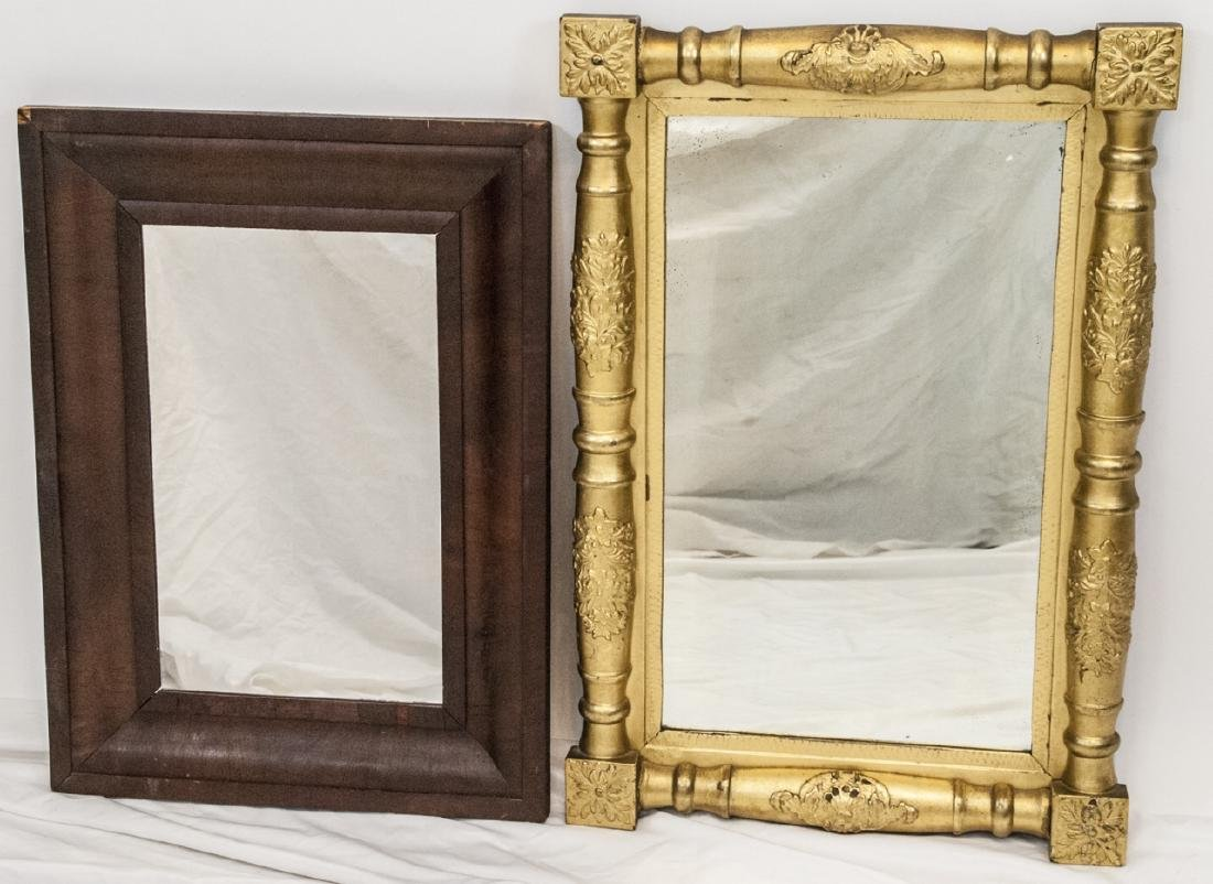 Two Antique 19th C American Wall Hanging Mirrors