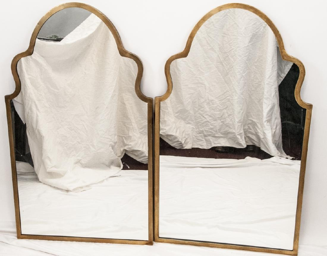 Pair Gilt Metal Moroccan Arch Design Wall Mirrors