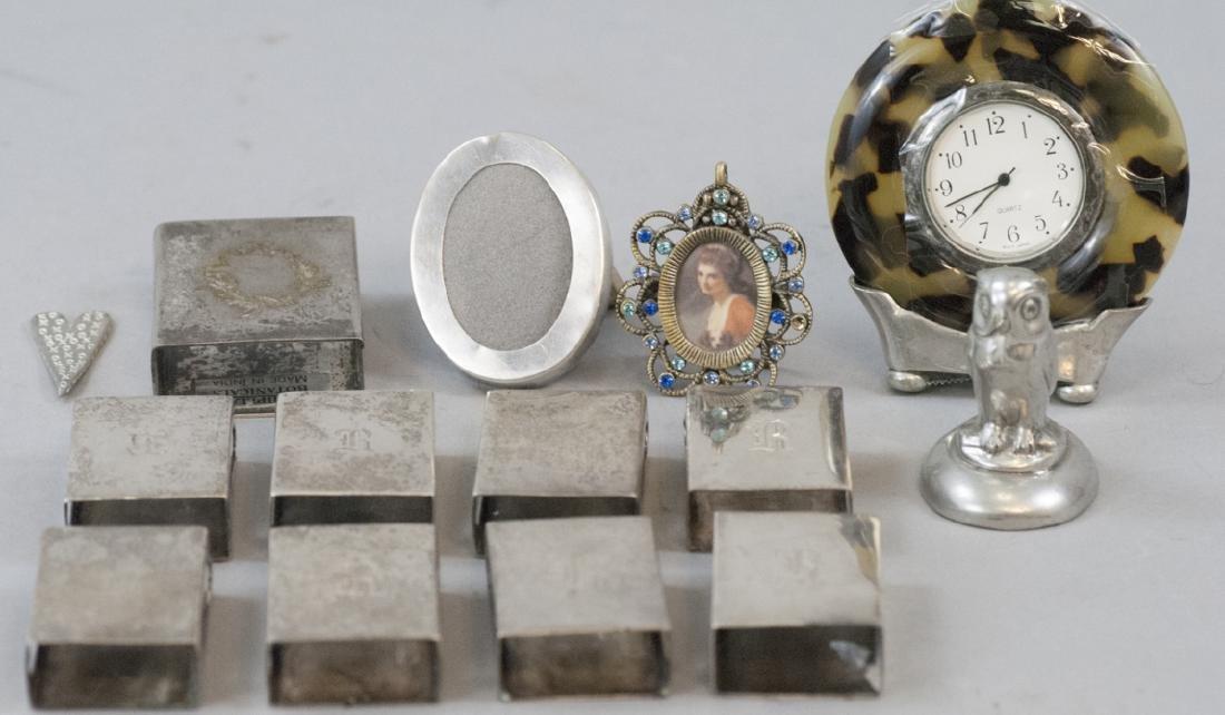 Vintage Silver Plate Match Box Vases, etc
