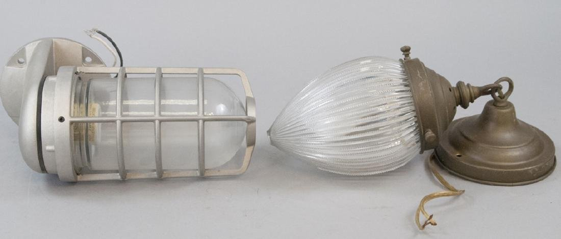 2 Outdoor Glass Shade Electric Sconces / Lanterns