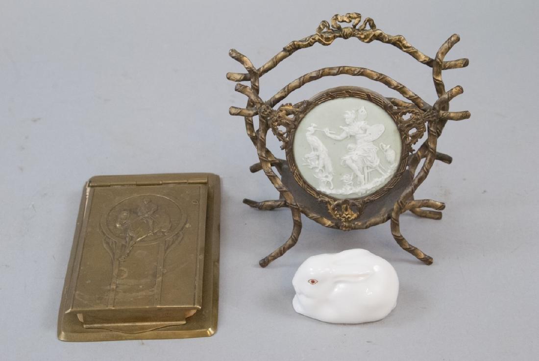 Herend Porcelain Rabbit & Jasperware Napkin Holder