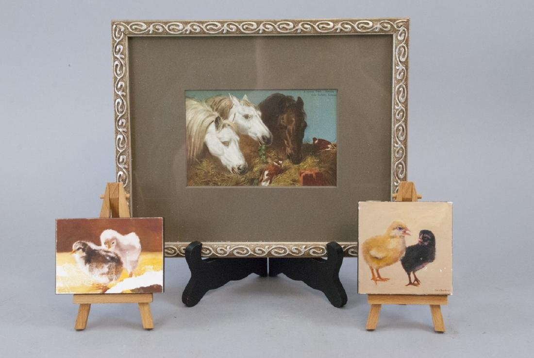 Two Artworks by Bourbeau & Vintage Horse Print