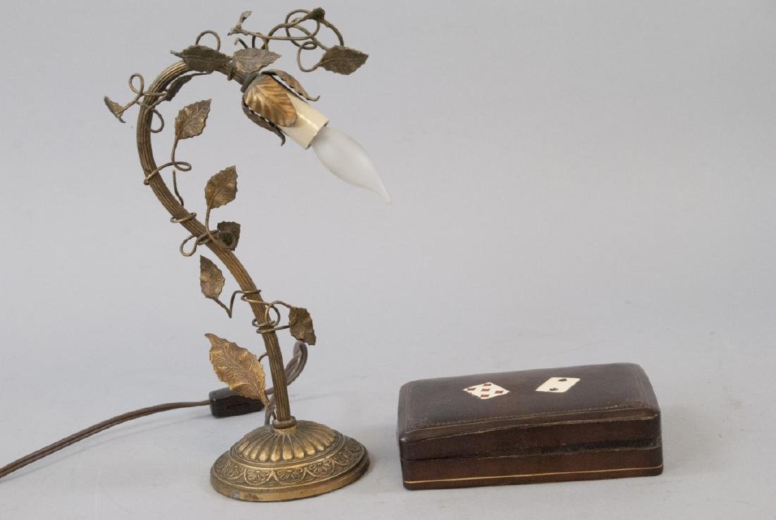 Vintage Table Lamp & Leather Playing Card Case