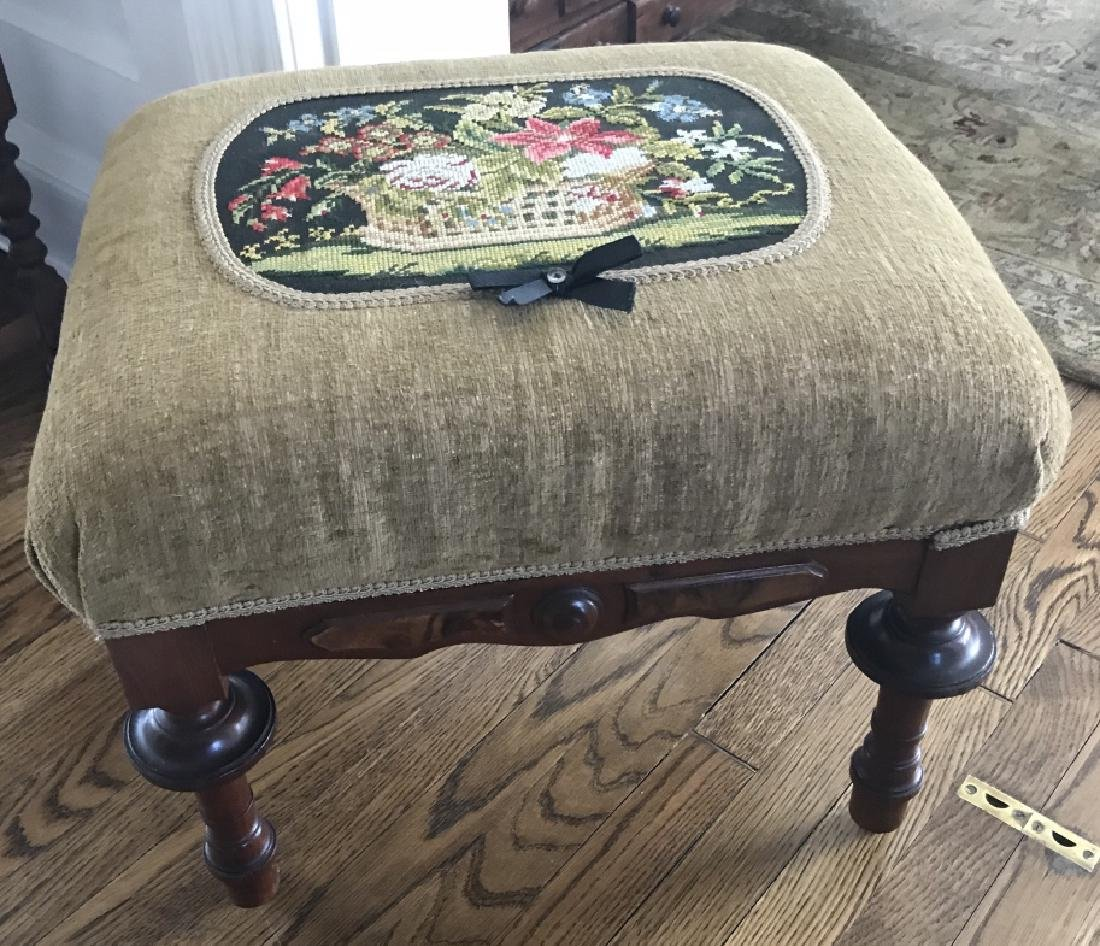 Antique 19th C American Victorian Ottoman Bench