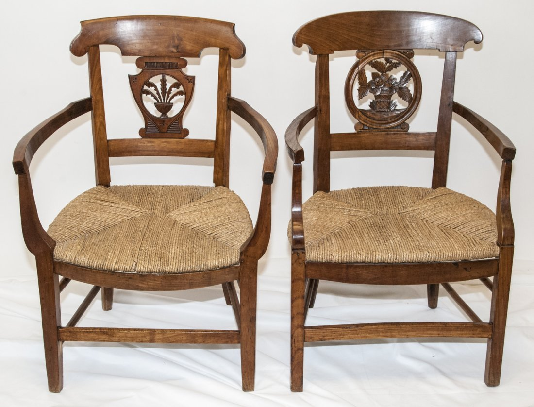 Antique 19th C Hand Carved French Country Chairs