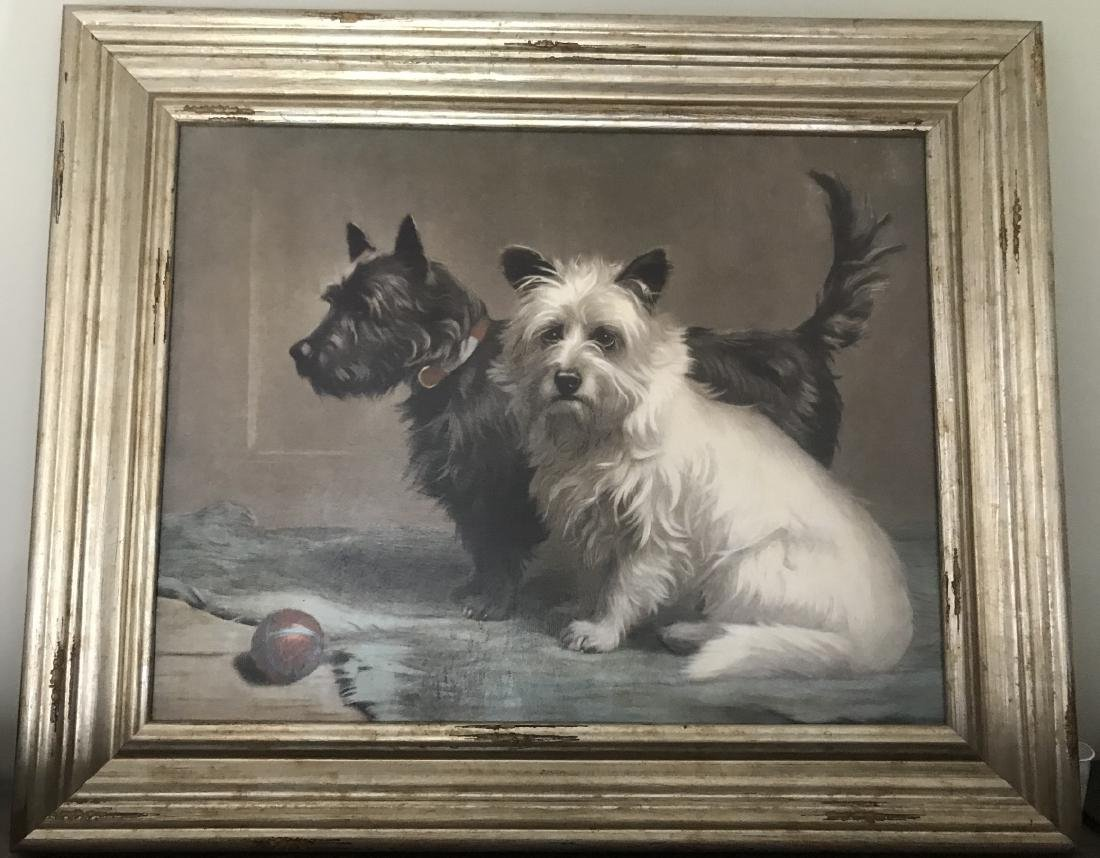 Antique 19th C Framed Print of Scottie Dogs