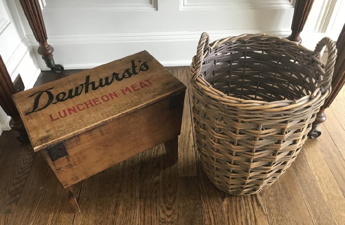 Antique Dewhurst's Advertising Box & Basket