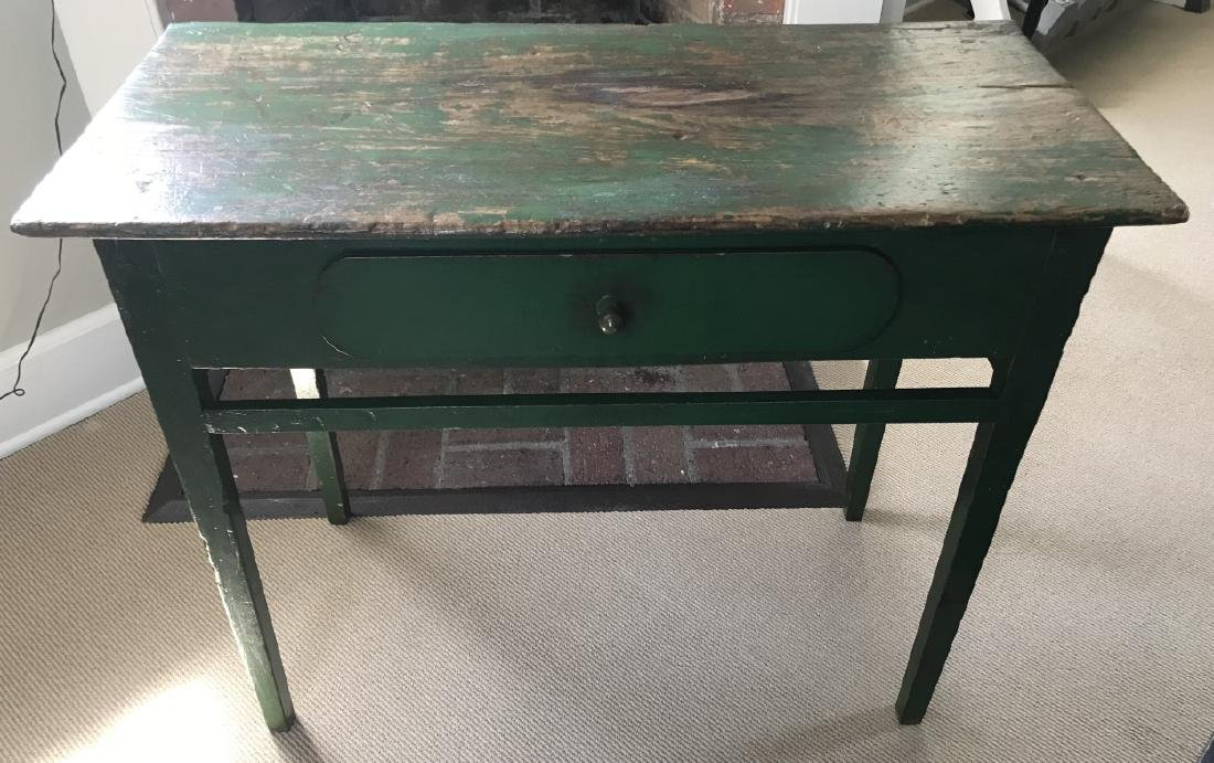 Antique American Country Green Farm Table Console
