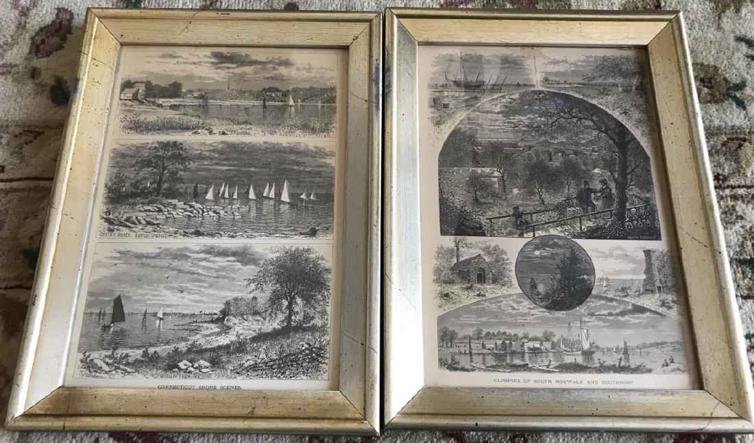 Pair Antique 19th C Prints - Scenes of Connecticut