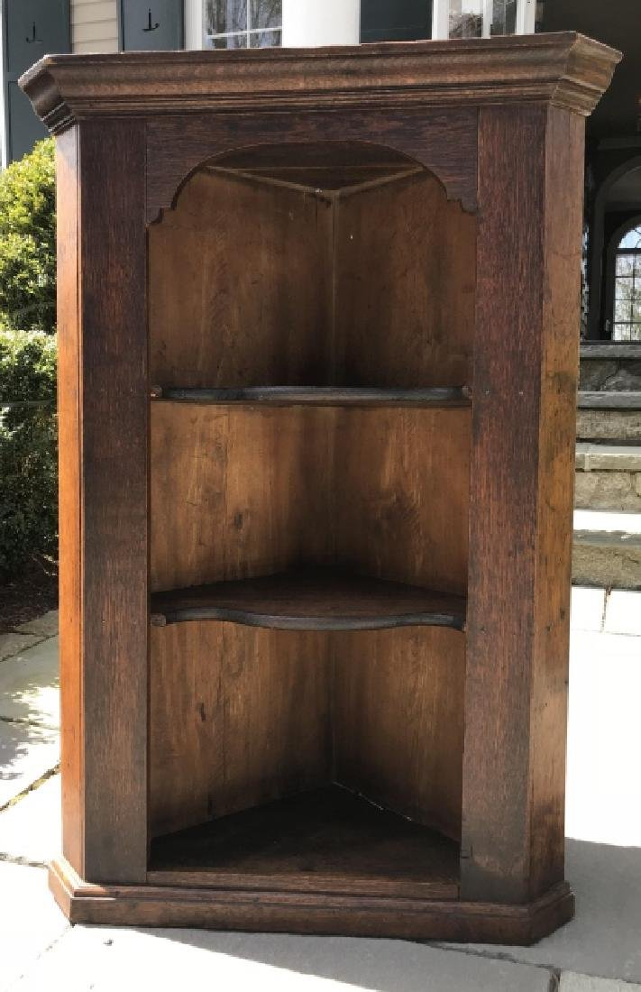 Antique 19th C English Carved Oak Corner Cabinet