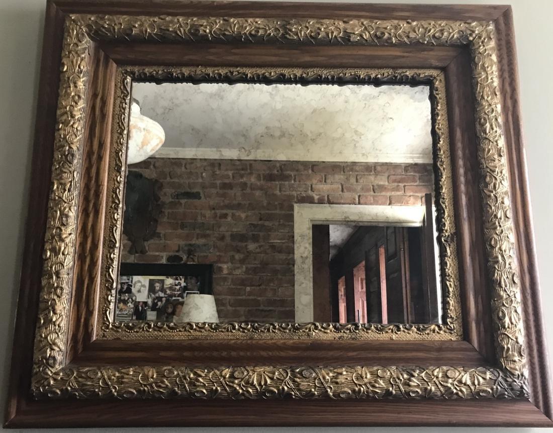 Antique 19th C Faux Bois Gilt & Wood Mirror