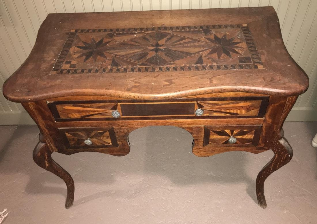 Antique C 1900 Marquetry Inlaid Vanity or Desk