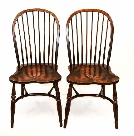 Pair English Windsor Barrel Back Carved Armchairs