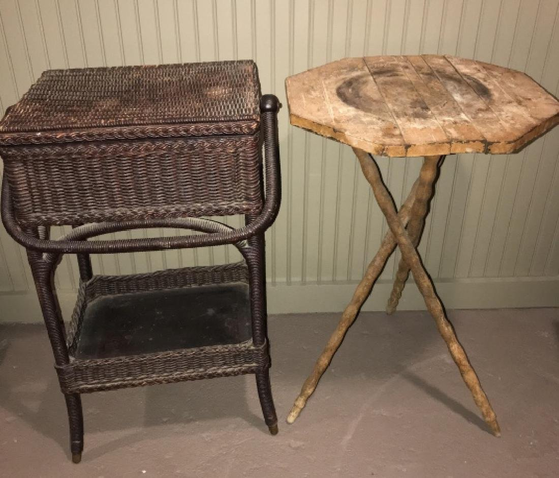 Two End Tables - Wicker & Rustic American Country