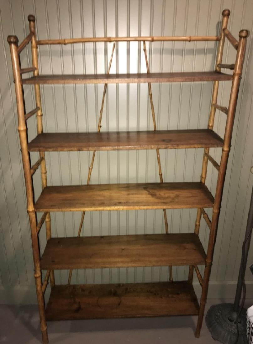 Vintage Bamboo Etagere Open Bookcase Cabinet