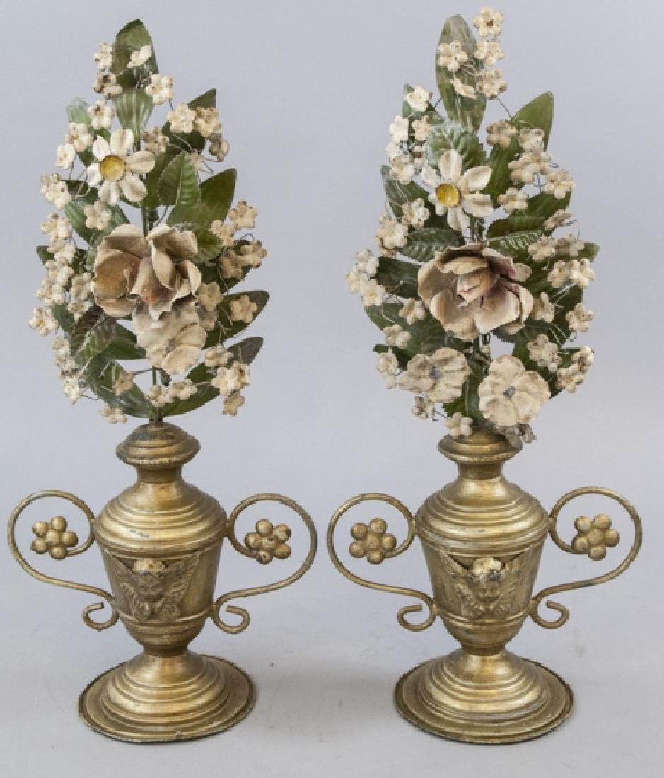 Pair of Antique Tole Metal Urns w Flowers Statues