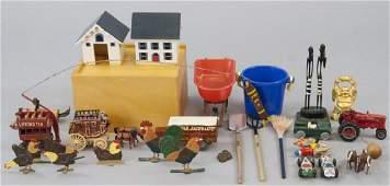Group of Antique  Vintage Wood  Metal Toys