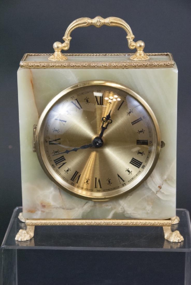 Vintage Green Onyx & Ormolu Table Clock