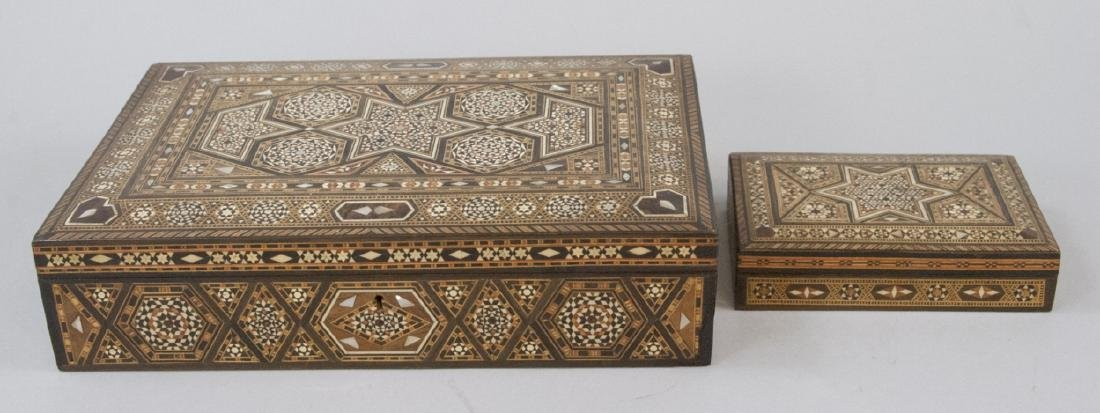 Two Inlaid Moroccan Style Jewelry or Table Boxes