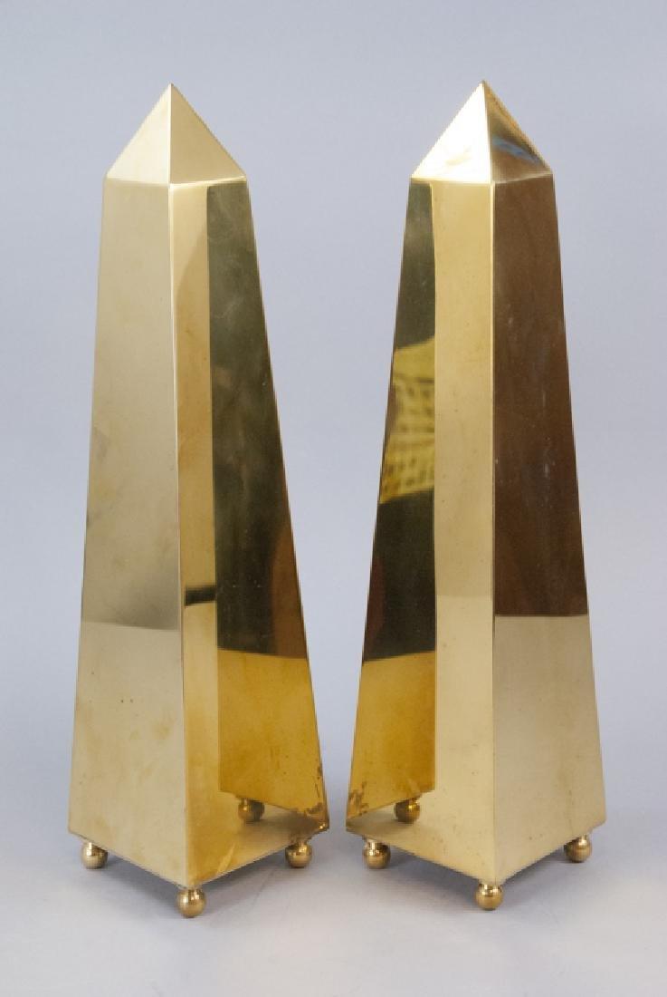 Pair of Vintage Gilt Brass Obelisk Statues