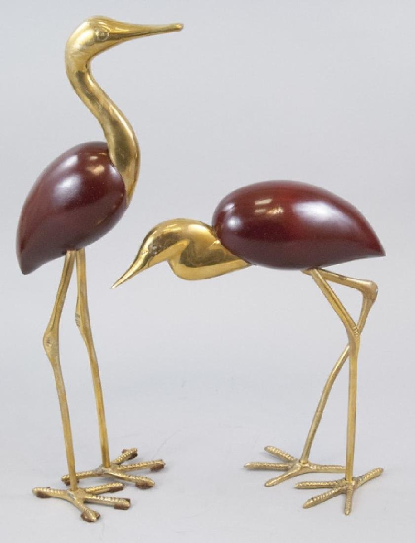 Pair Vintage Gilt Brass & Wood Crane Bird Statues