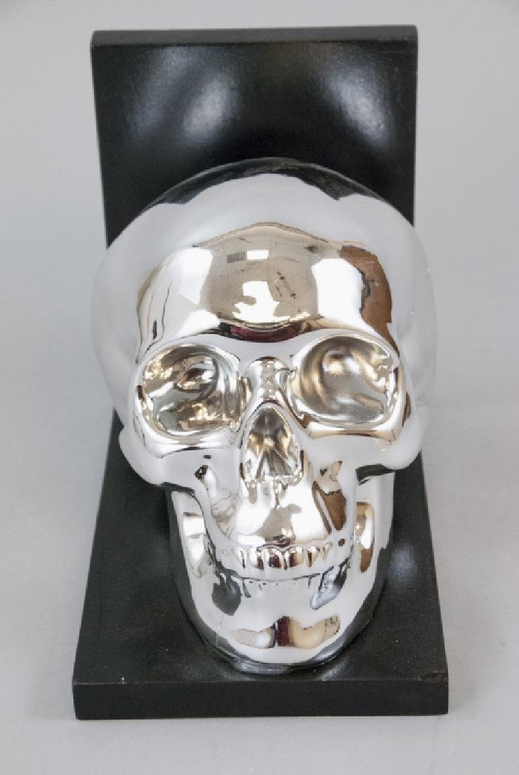 Contemporary Art Statue Human Skull w Wood Stand