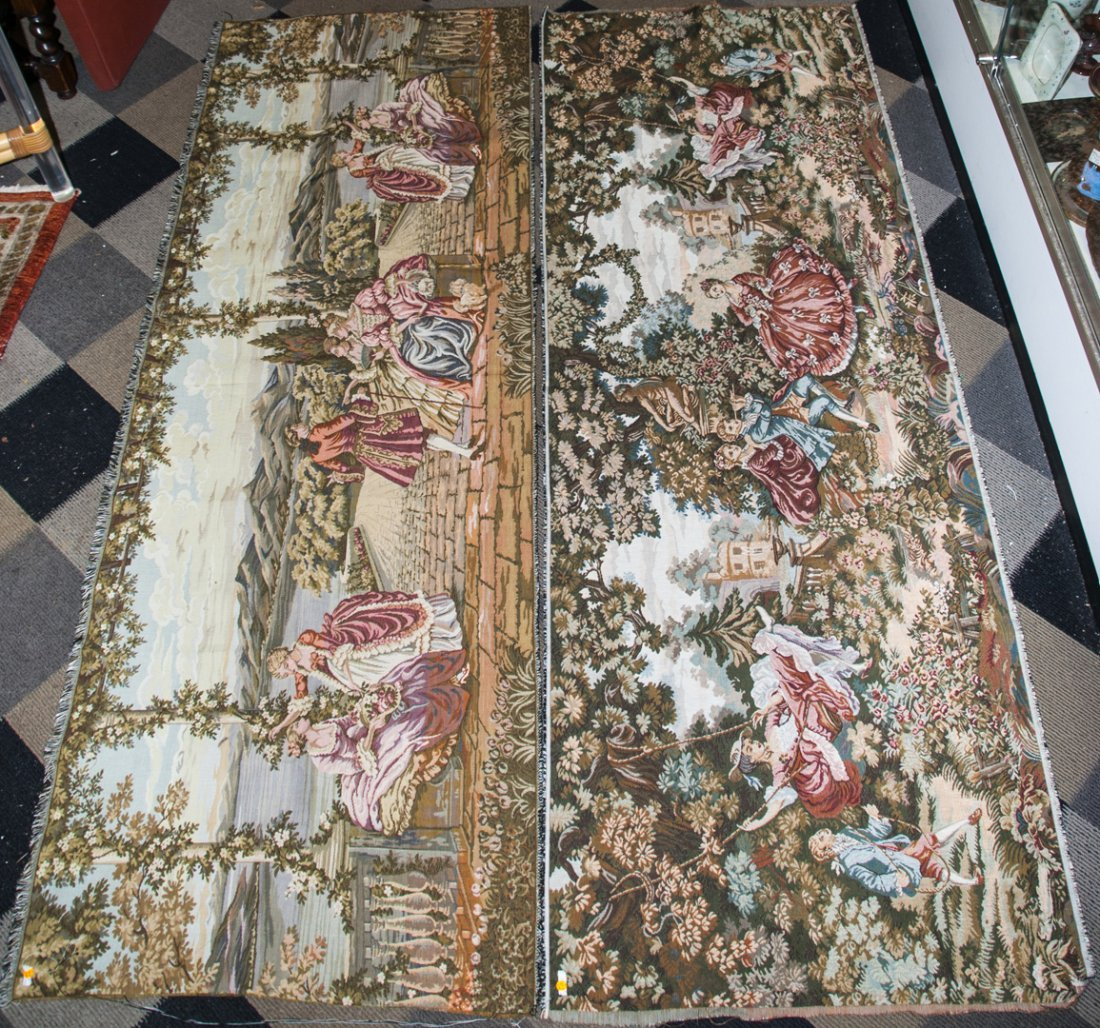 Pair Vintage Wall Hanging Tapestry Panels