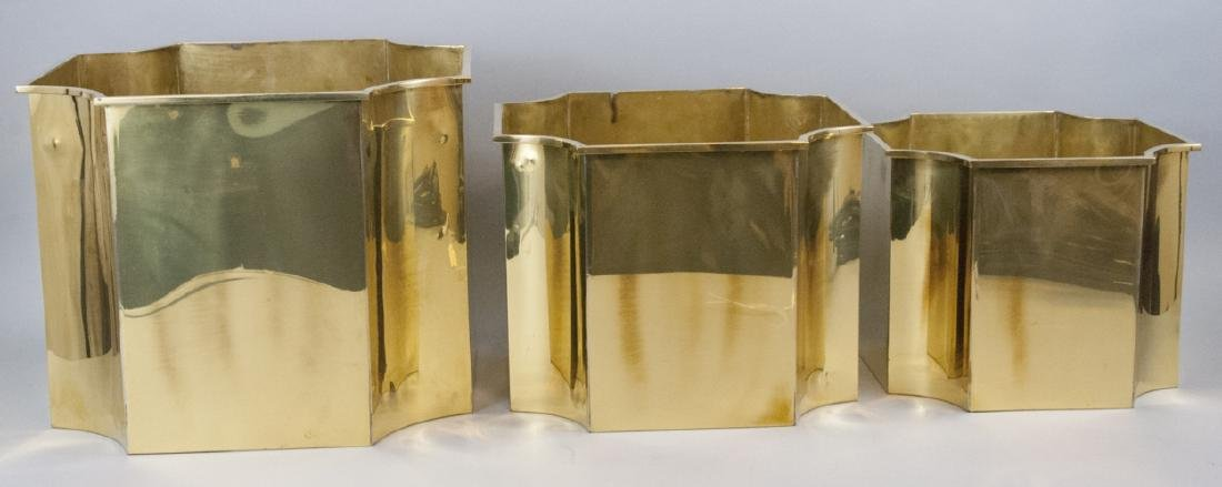 Three Neo Classical Style Gilt Brass Planters