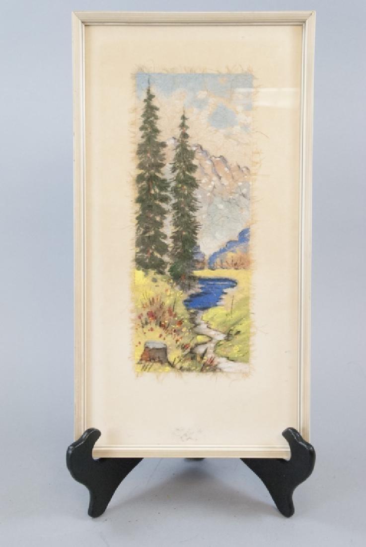German Landscape Painting on Handmade Paper