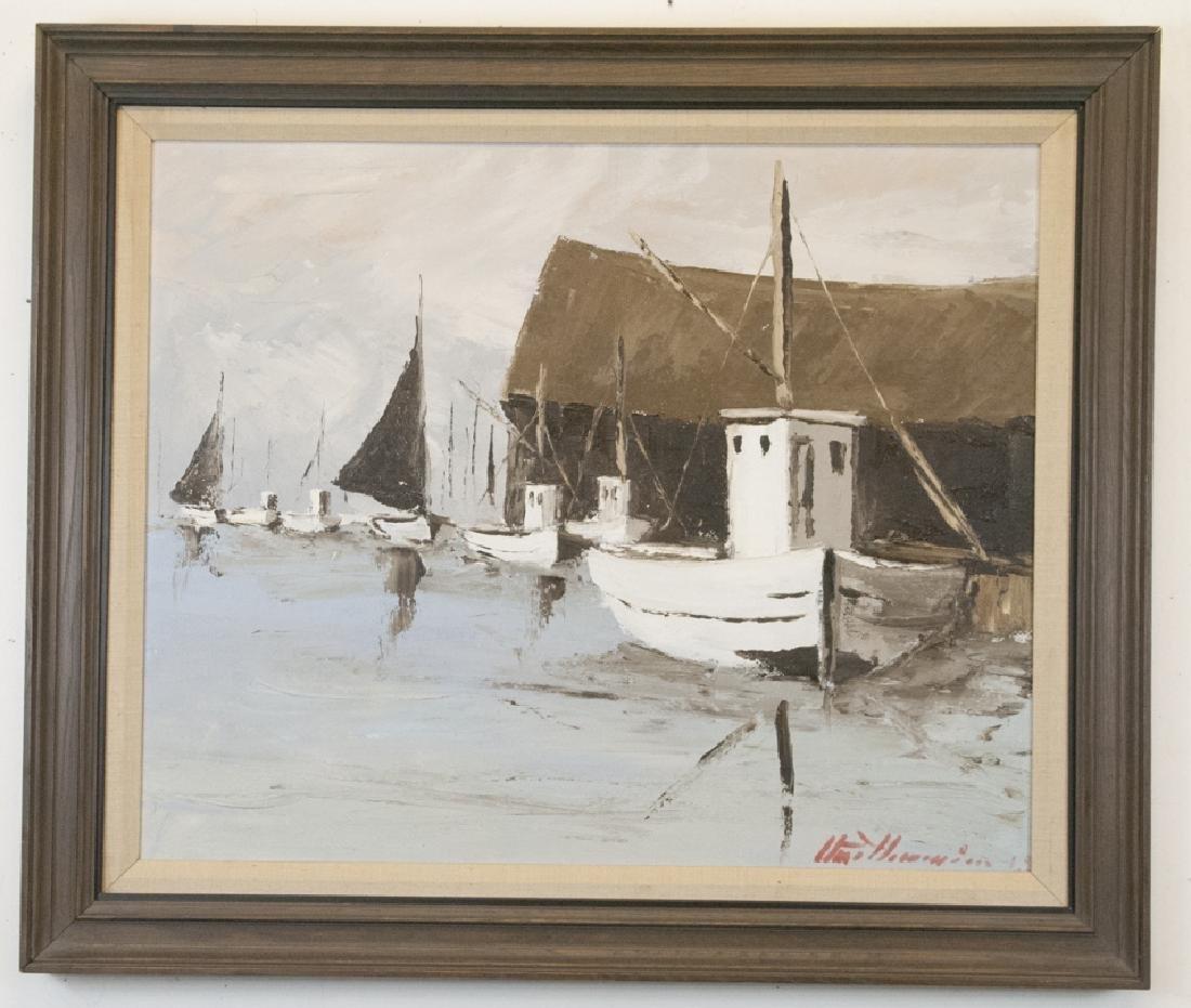 Mid Century Modern Palette Knife Harbor Painting
