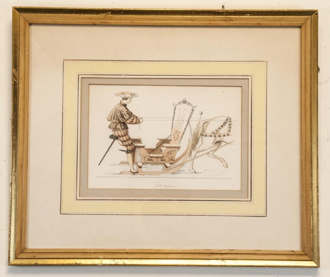 Antique 19th C French Engraving of Carriage