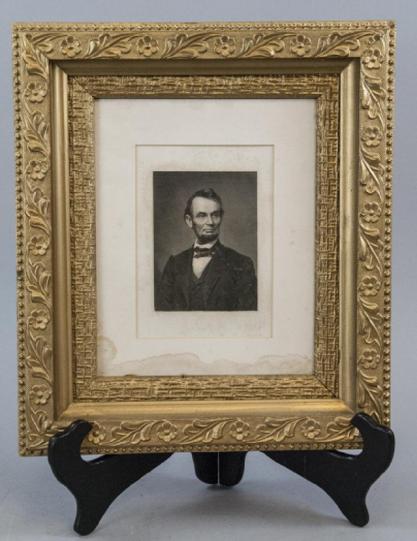 Antique Framed 19th C Engraving of Abraham Lincoln