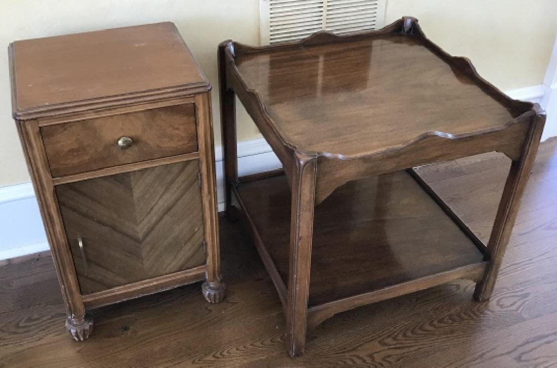 2 Tier End Table & Book Matched Veneer Night Stand