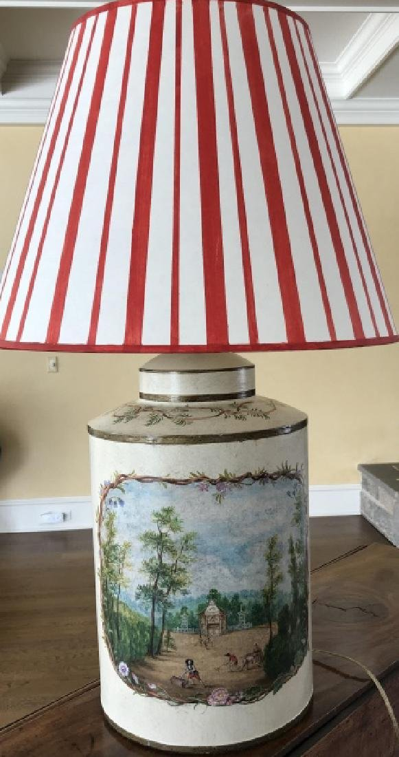 Designer Hand Painted Tole Metal Tin Table Lamp