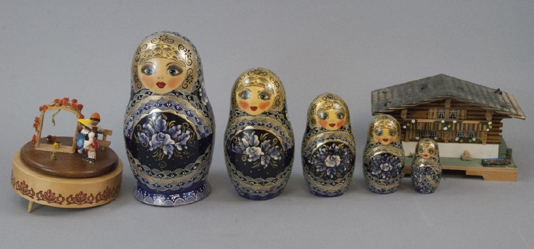 Russian Nesting Dolls and 2 Swiss Music Boxes